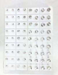 E059- 36 paires de B.O puces strass rondes
