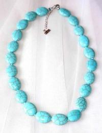 N246-Collier en pierre turquoise