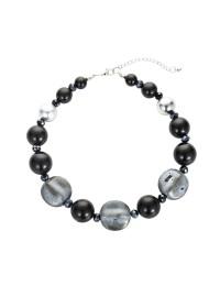 combinaison boucles d'oreilles collier chaîne de nacres pierres noires