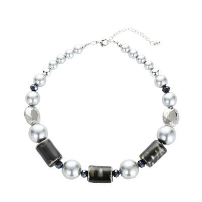 combinaison boucles d'oreilles bracelet chaîne de nacres pierres kaki