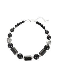 combinaison boucles d'oreilles collier chaîne de nacres pierres noires 1