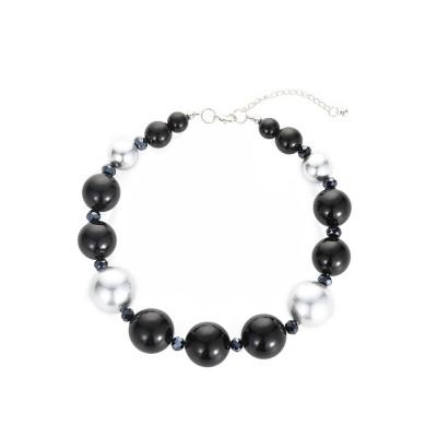 combinaison boucles d'oreilles bracelet chaîne de nacres noires