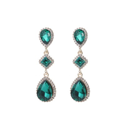 boucles d'oreilles pendantes  cristal pierre
