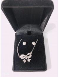 N1353-parure collier pendentif noeud